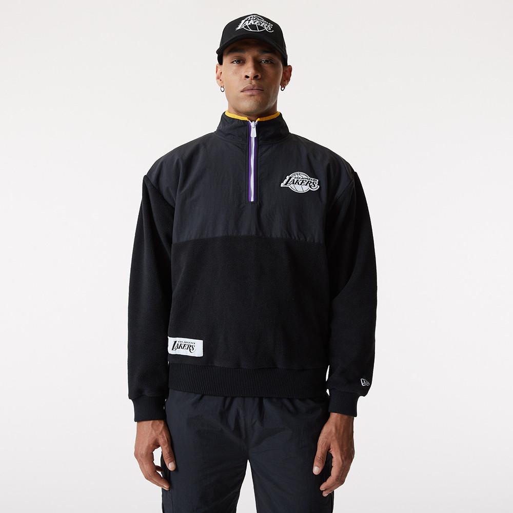 LA Lakers – Hoodie in Schwarz mit kurzem Reißverschluss