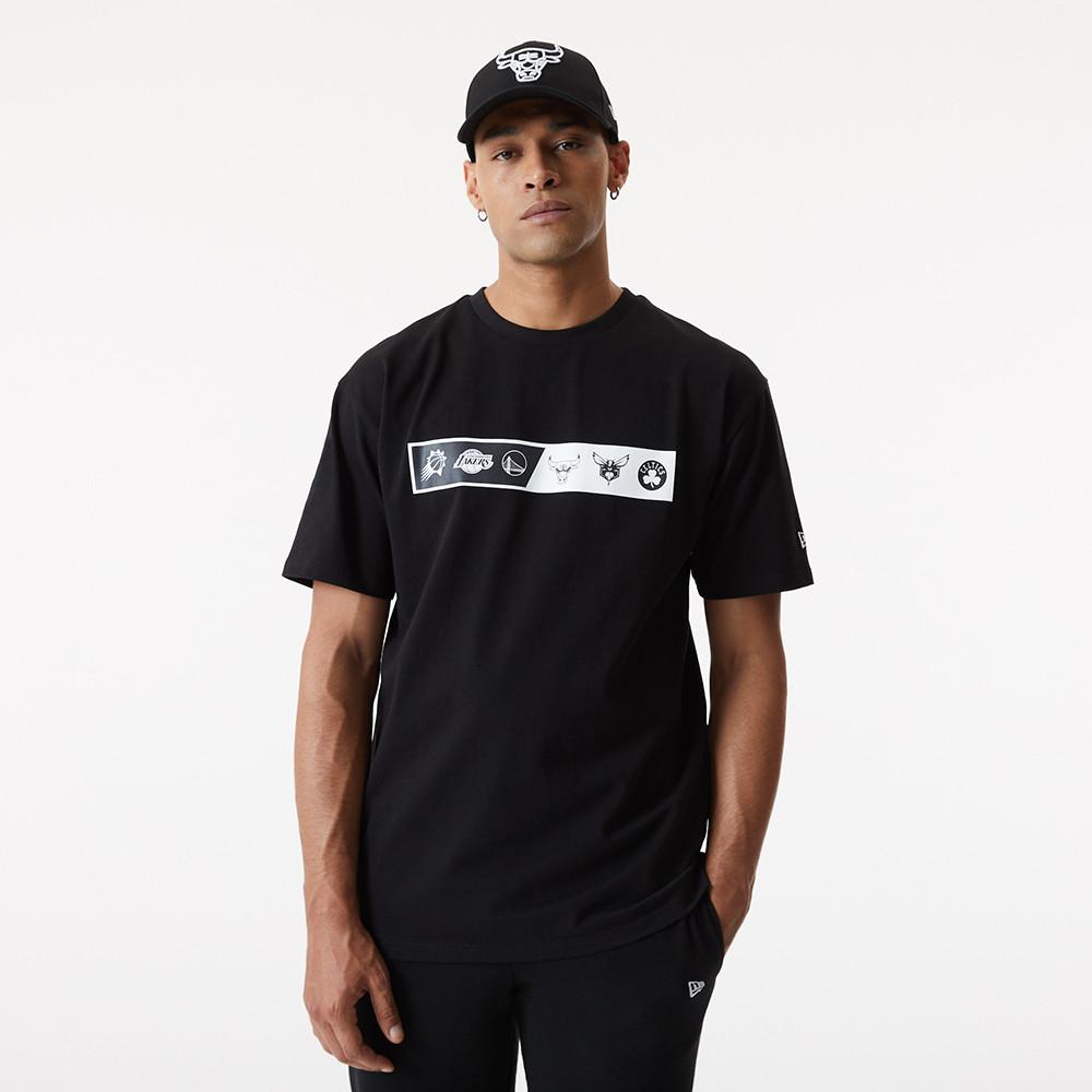 Oversized-T-Shirt in Schwarz mit NBA-Logo