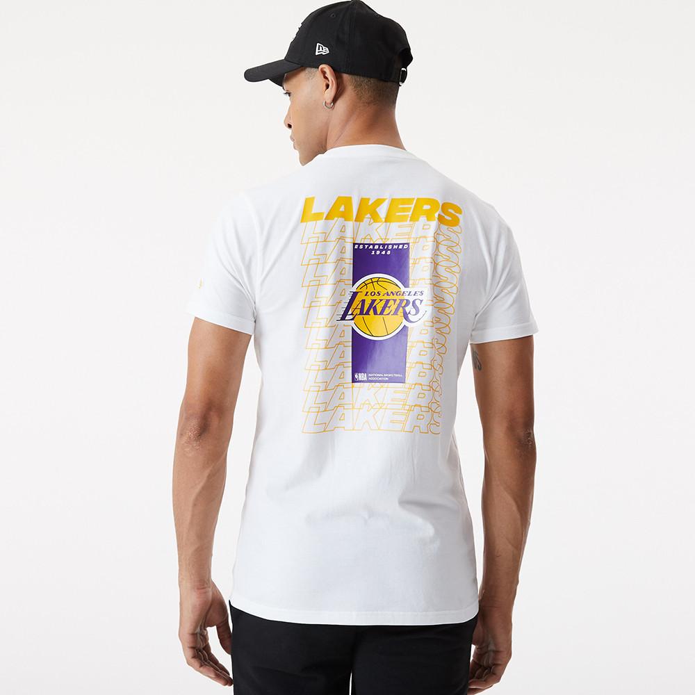 LA Lakers – T-Shirt in Weiß mit sich wiederholendem Logo