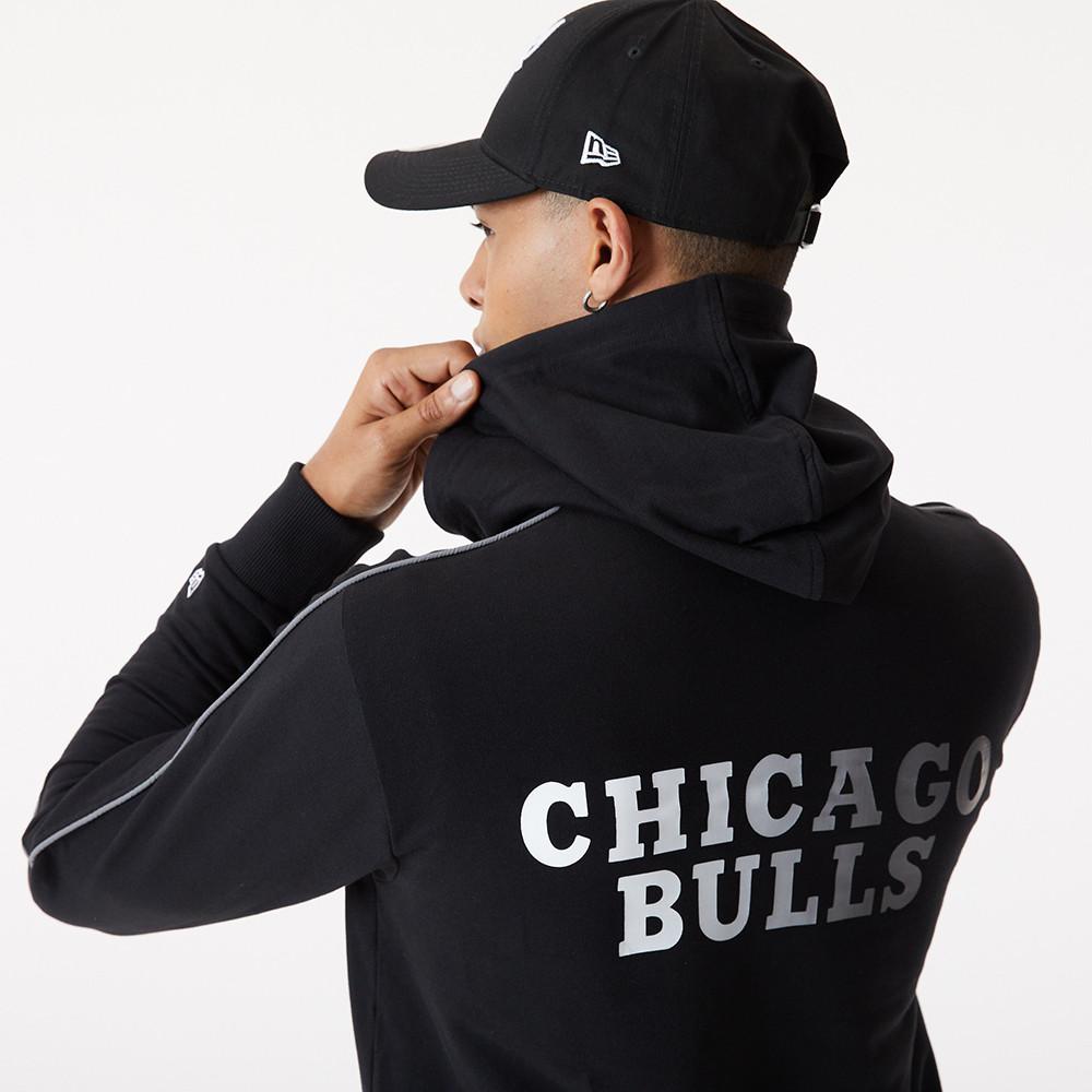 Sweatà capuche avec logo délavé des Chicago Bulls noir