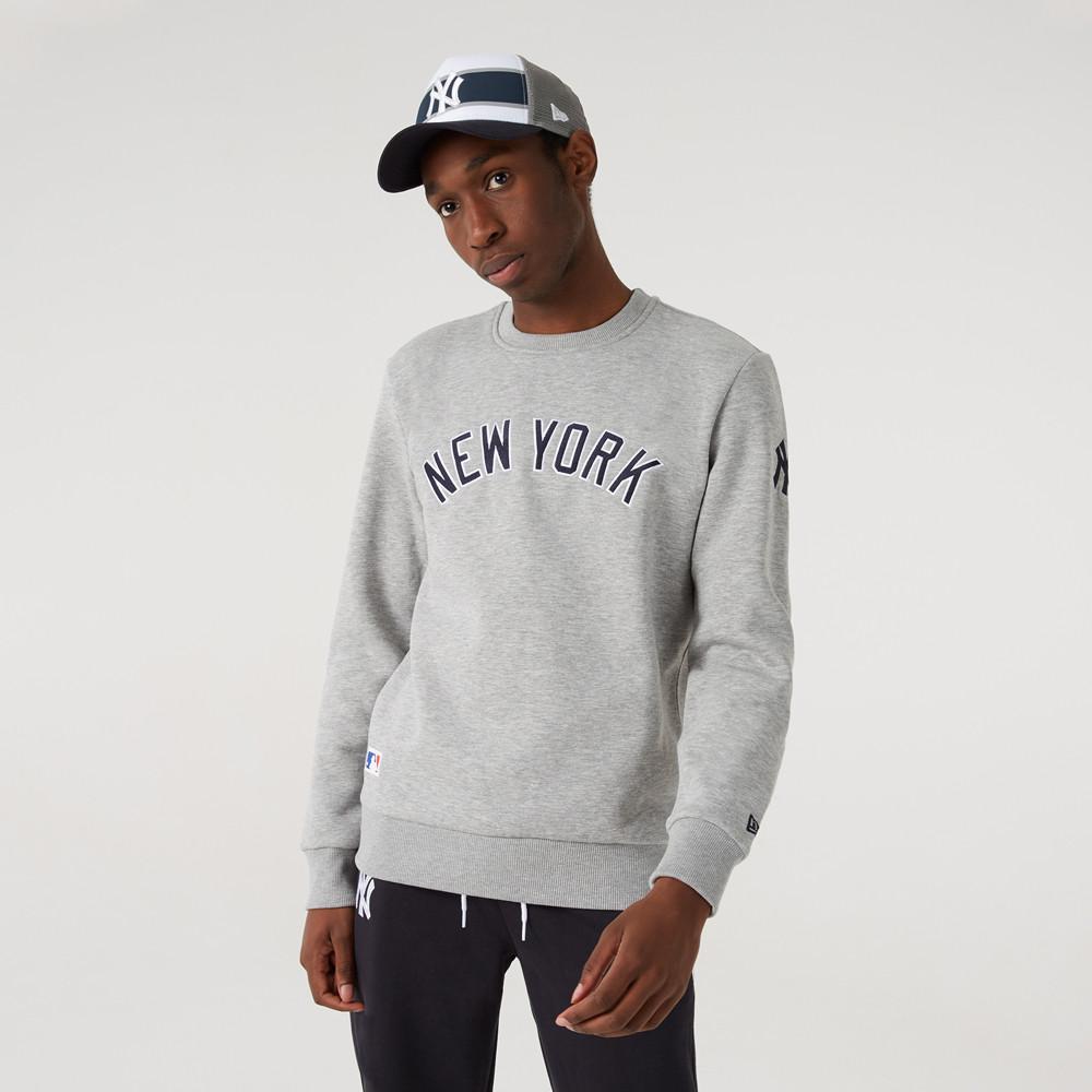 New York Yankees – Sweatshirt in Grau mit Schriftzug und Rundhalsausschnitt