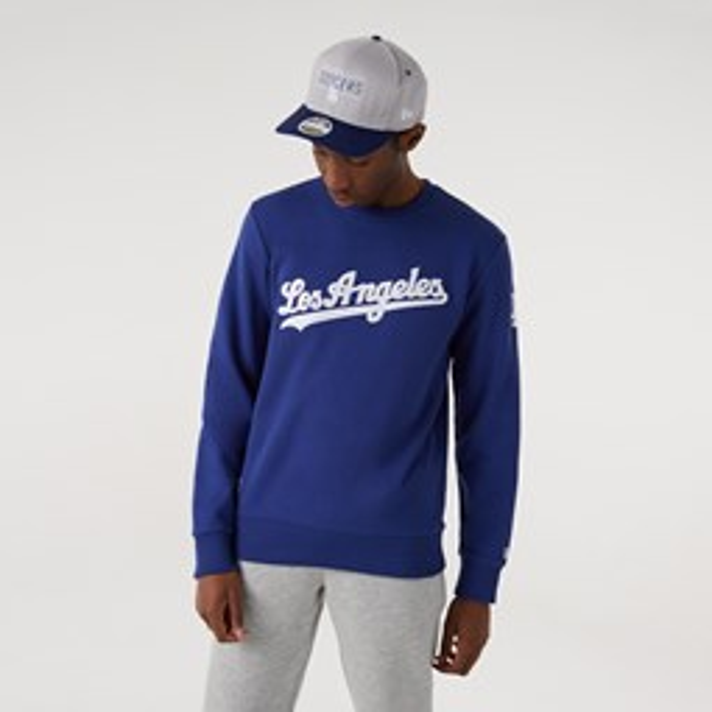 LA Dodgers – Sweatshirt in Blau mit Schriftzug und Rundhalsausschnitt