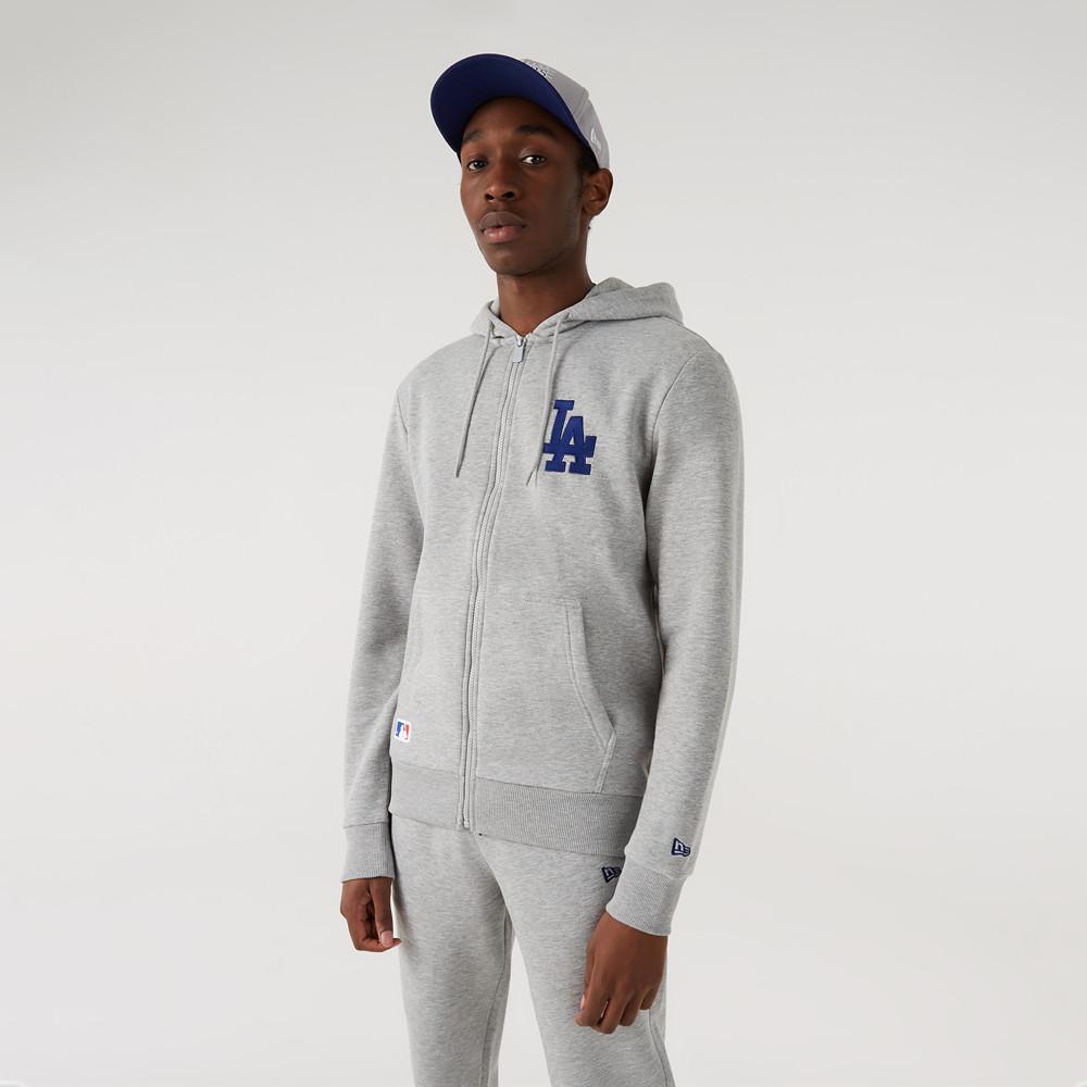 Felpa con cappuccio e zip con logo LA Dodgers grigia