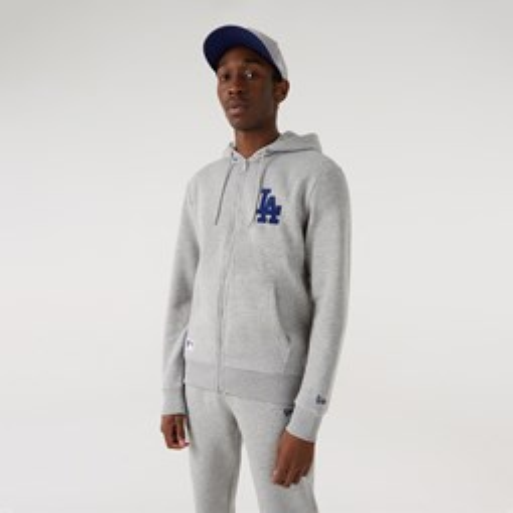 Sweat à capuche zippé et à logo desLA Dodgers, gris
