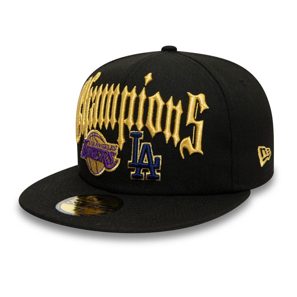 Casquette59FIFTYCo Champs desLA Lakers et LA Dodgers, noir