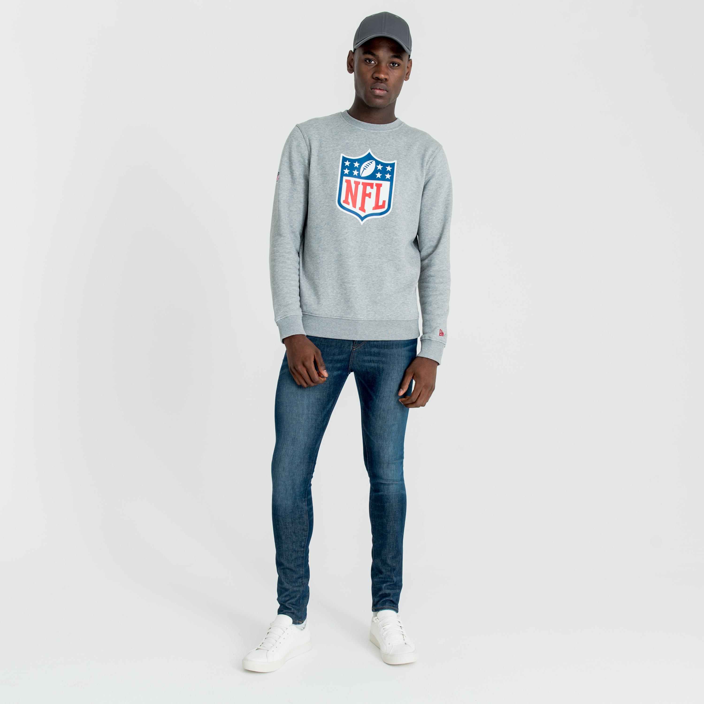 Sweat col ras du cou logo NFL gris chiné