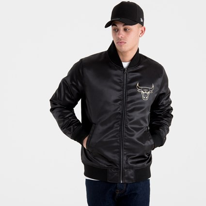 721eebb2a Chicago Bulls Black 'N' Gold Sateen Bomber | New Era