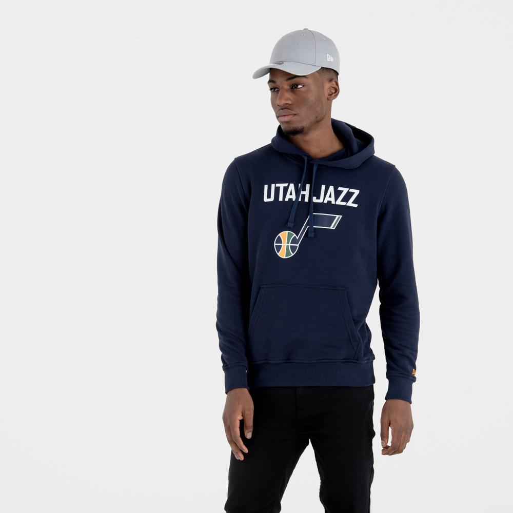 Felpa chiusa con cappuccio Utah Jazz Team Logo blu navy