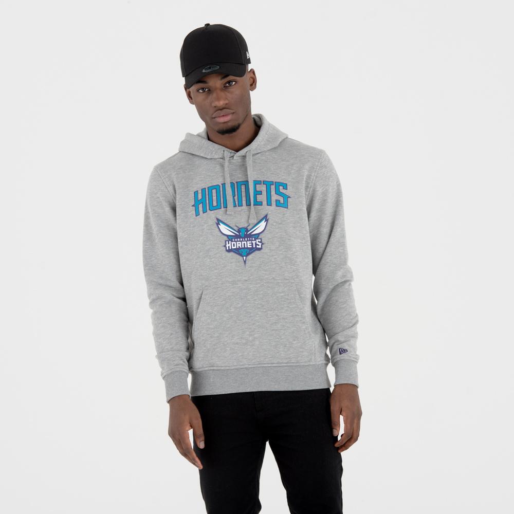 Felpa con cappuccio grigia con logo del team Charlotte Hornets
