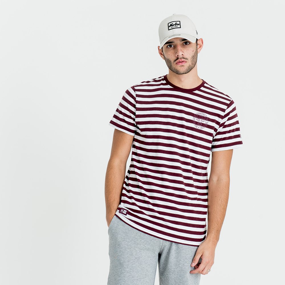 T-shirt New Era College Pack a righe bordeaux e bianche