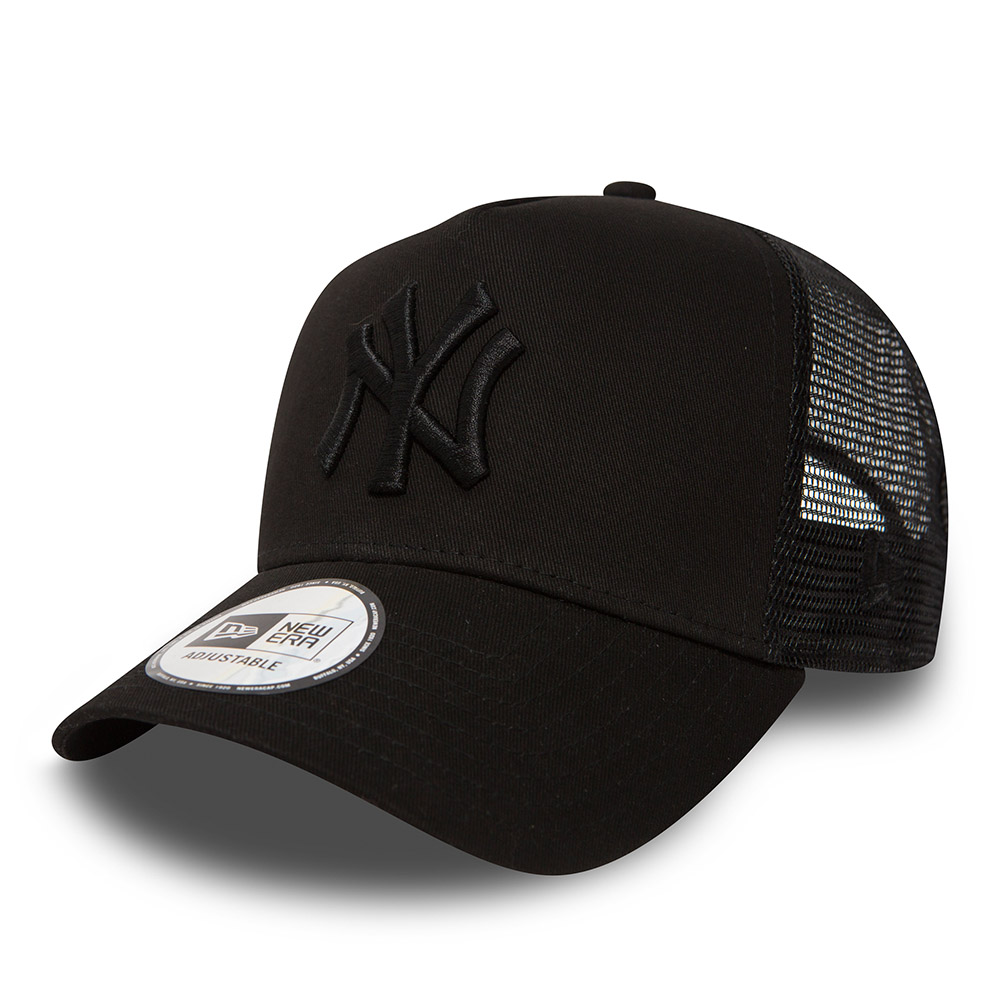 New York Yankees Clean A Frame  Trucker, Black on Black