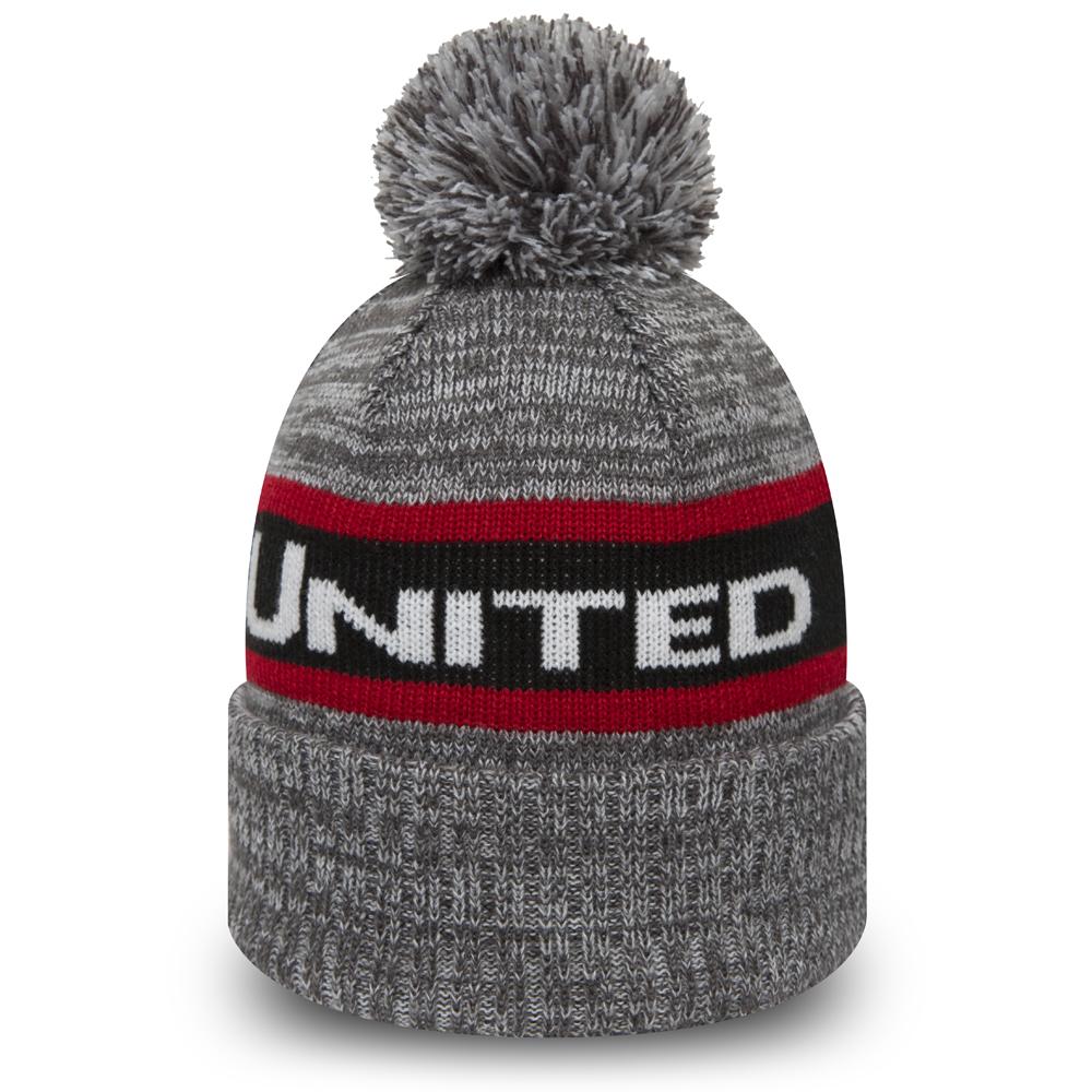 Berretto di maglia con risvolto Manchester United grigio con pompon ... 74ea20263d4c