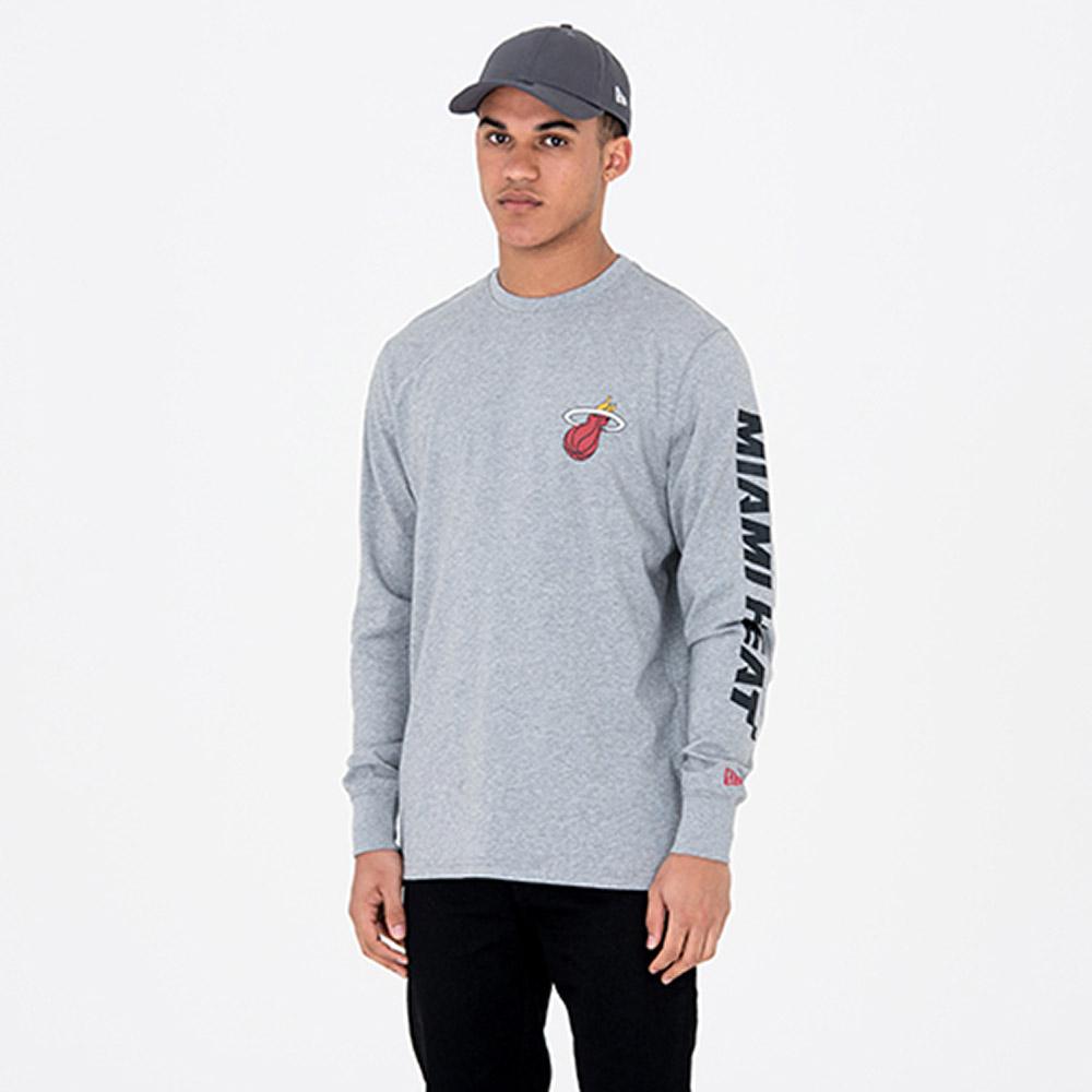 T-shirt Miami Heat a maniche lunghe grigia 2918bf2f0faf