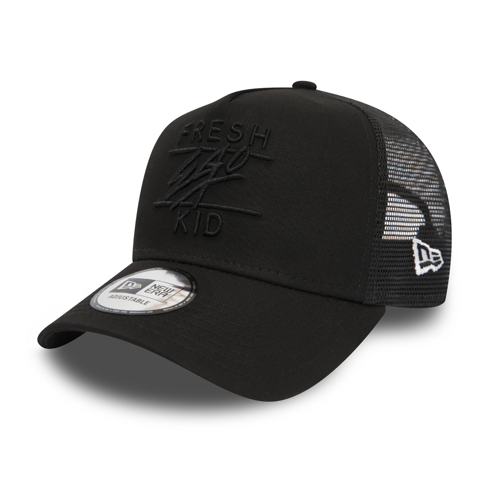 New Era Fresh Ego Kid Mesh Black on Black A Frame Trucker