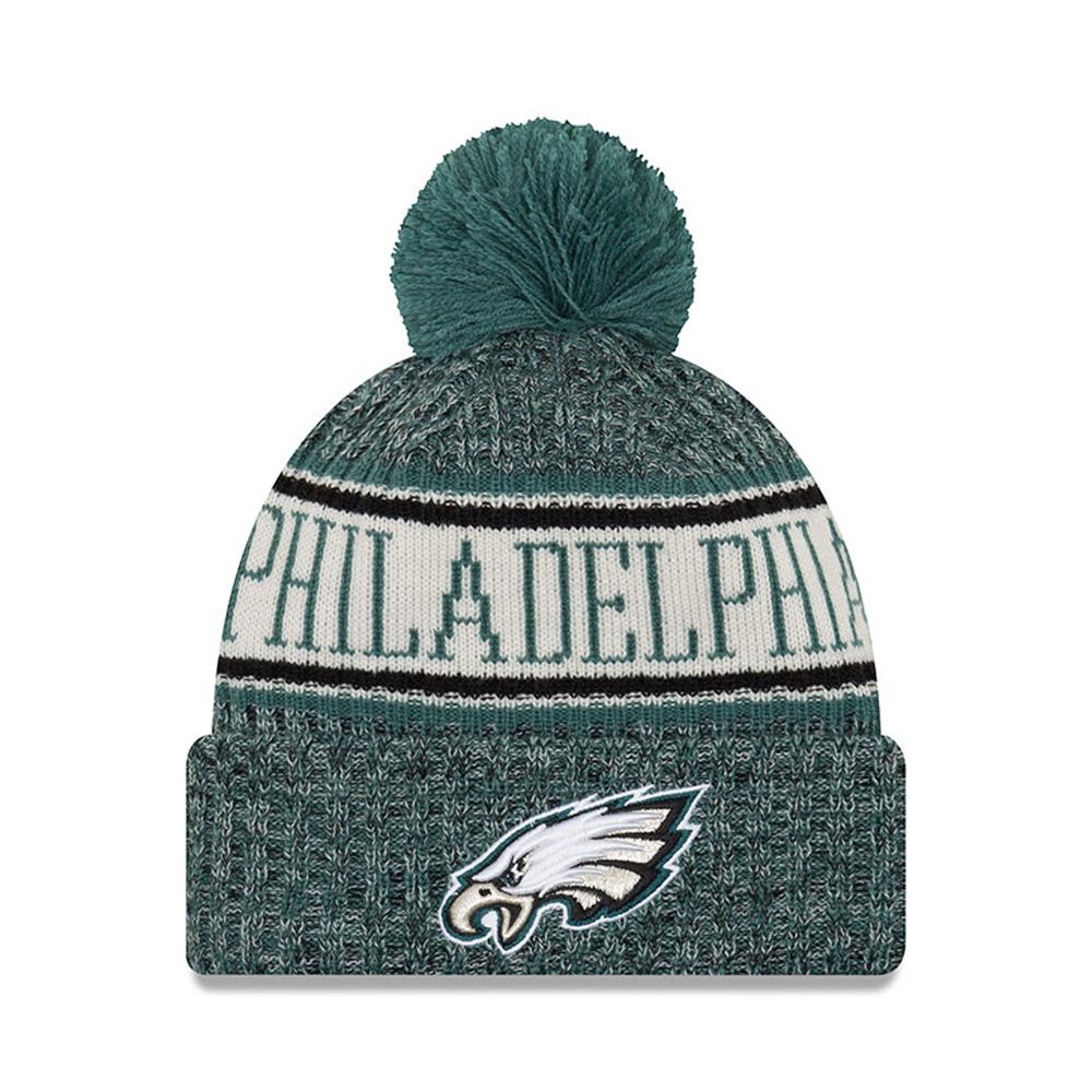 Berretto di maglia con risvolto e pompon Philadelphia Eagles 2018 Sideline
