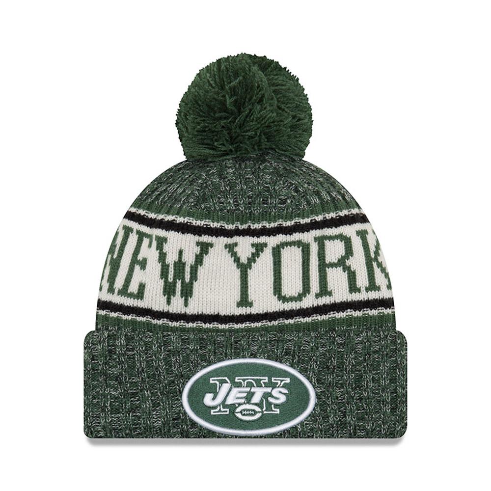 Berretto di maglia con risvolto e pompon New York Jets 2018 Sideline ... 258d600f3b48