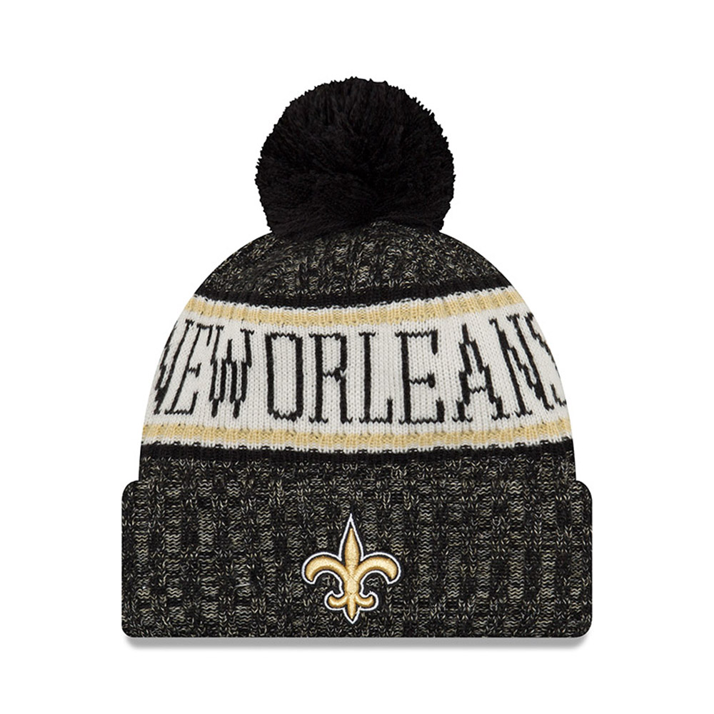 Berretto di maglia con risvolto e pompon New Orleans Saints 2018 Sideline