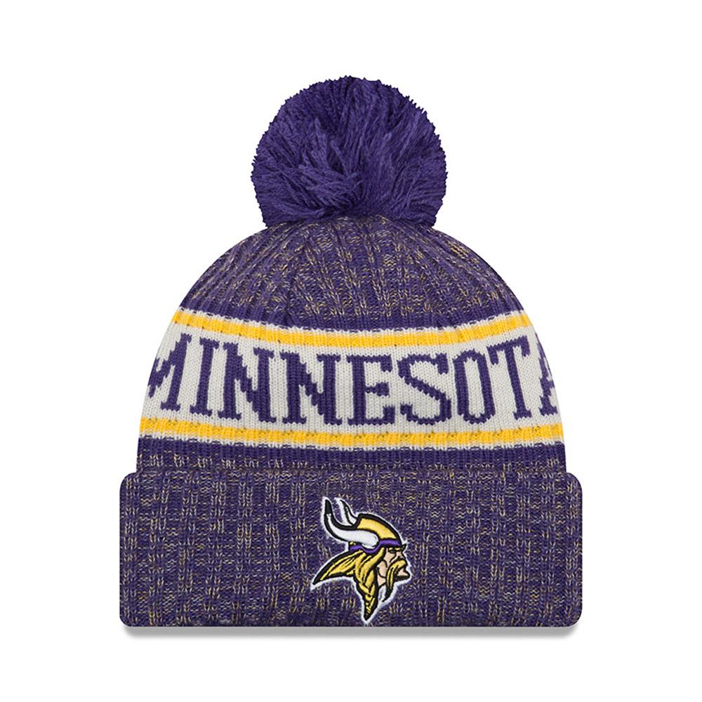 Berretto di maglia con risvolto e pompon Minnesota Vikings 2018 Sideline
