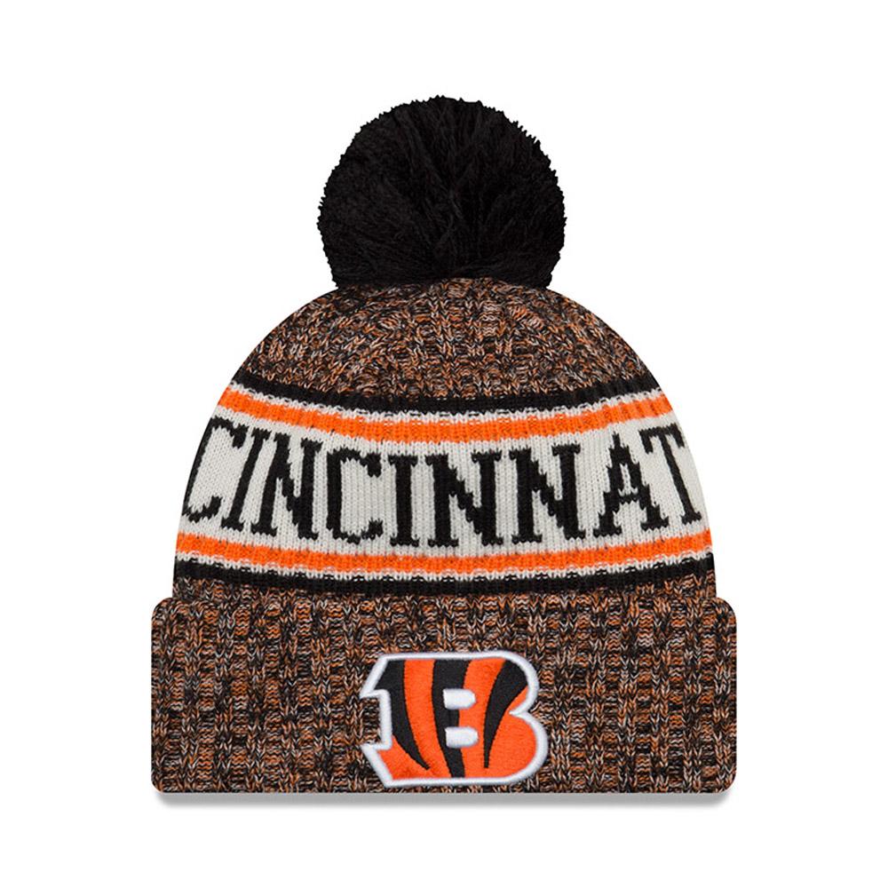 Berretto di maglia con risvolto e pompon Cincinnati Bengals 2018 Sideline