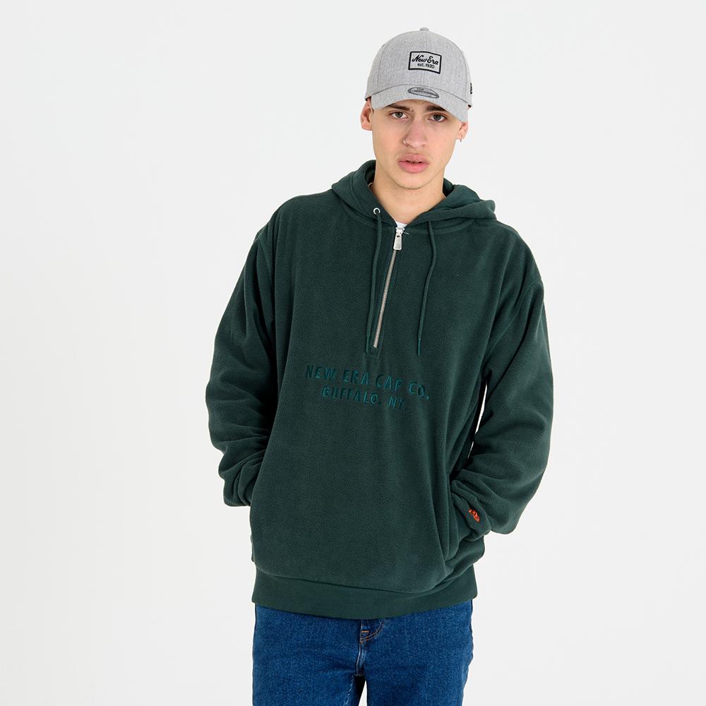 Felpa New Era verde con cappuccio e mezza zip