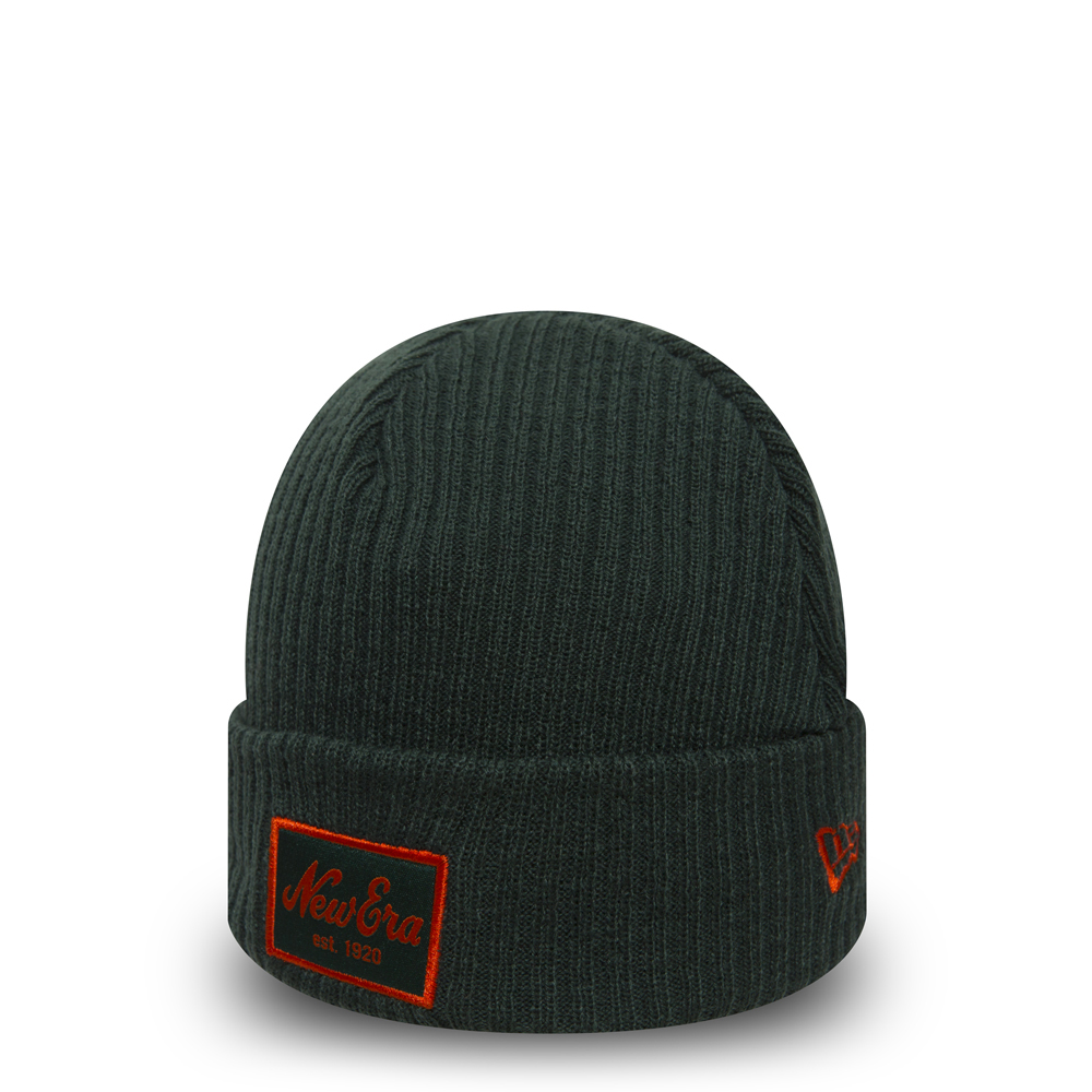 New Era Script Winter Utility Green Cuff Knit