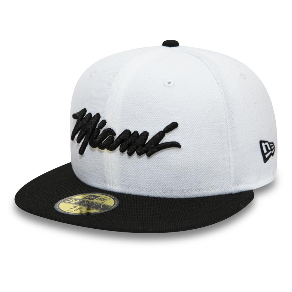Weiße 59FIFTY-Kappe der Miami Heat