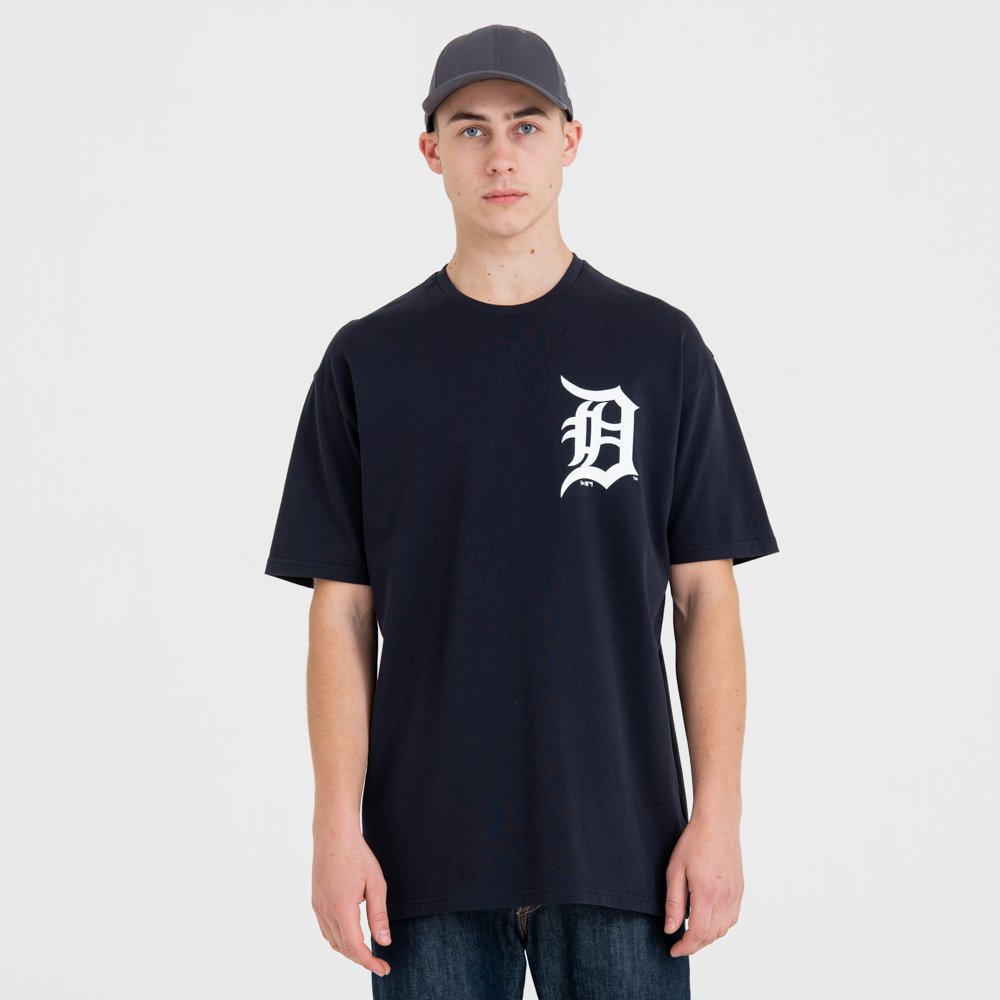 Detroit Tigers Oversized Logo Navy Tee