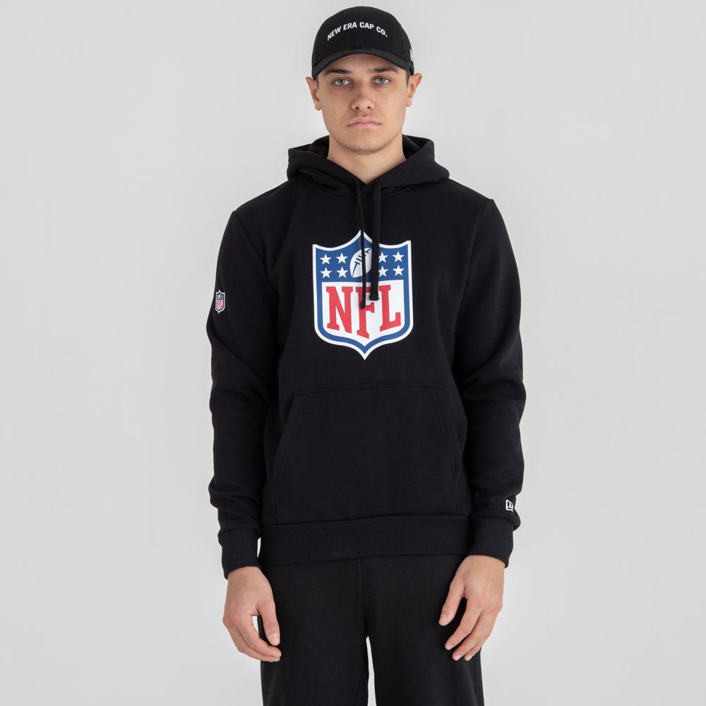 Felpa con cappuccio nera con logo NFL