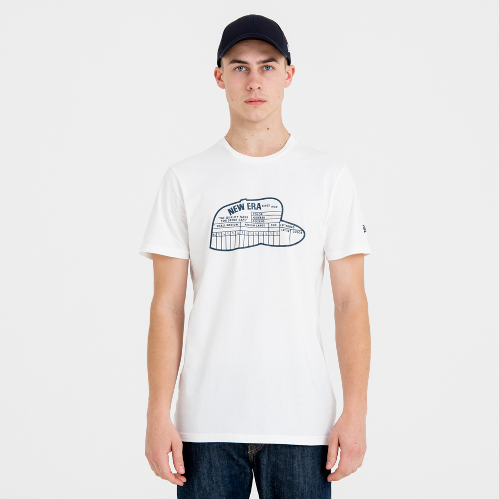 Camiseta New Era Size Chart, blanco