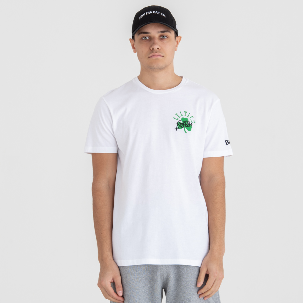 T-shirt Boston Celtics Script à logo blanc