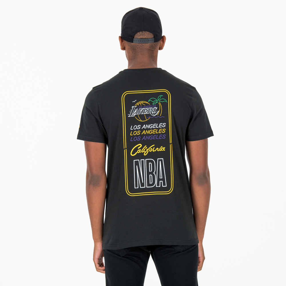 Los Angeles Lakers – Neon Lights – T-Shirt in Schwarz
