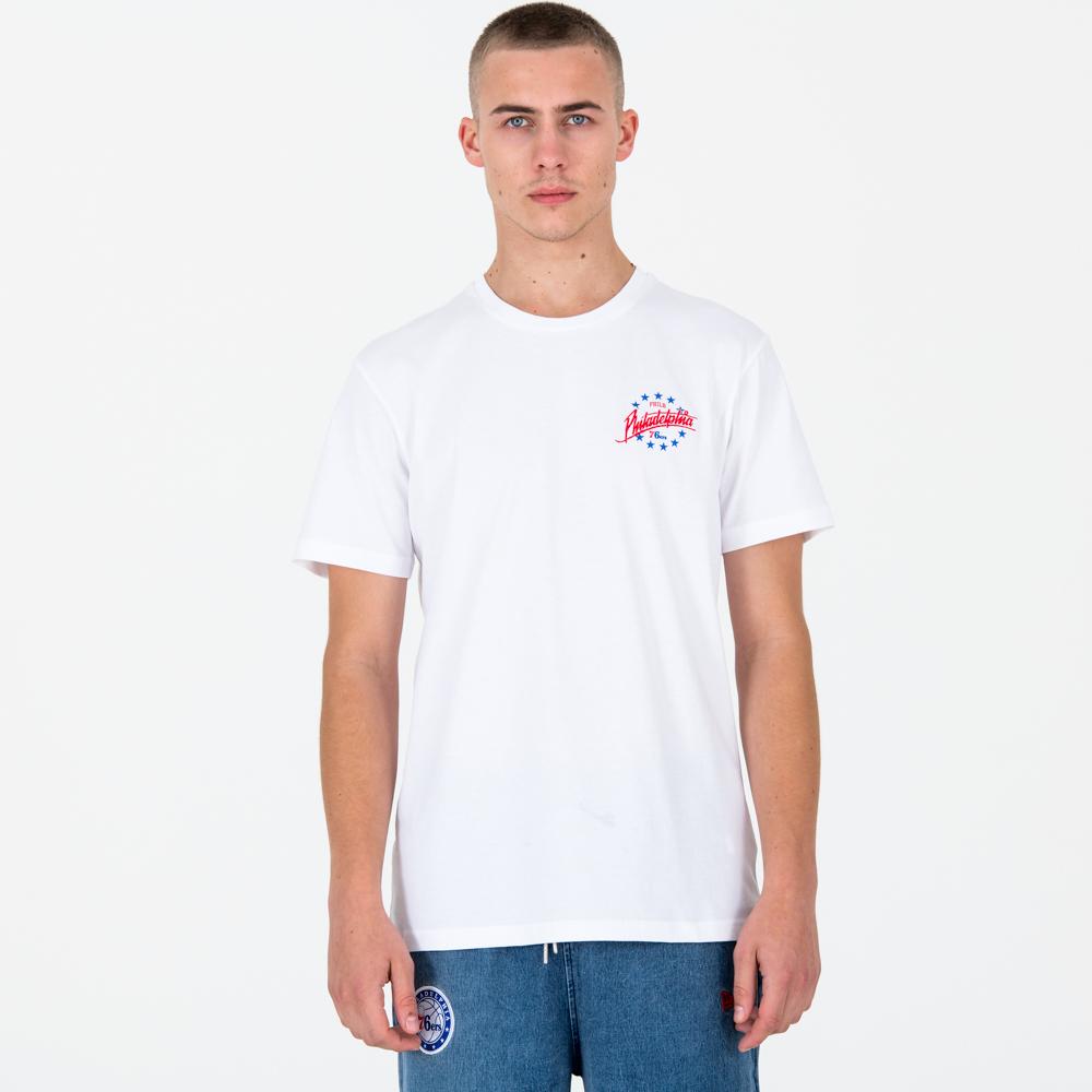 Philadelphia 76ers – T-Shirt mit Logo-Schriftzug – Weiß