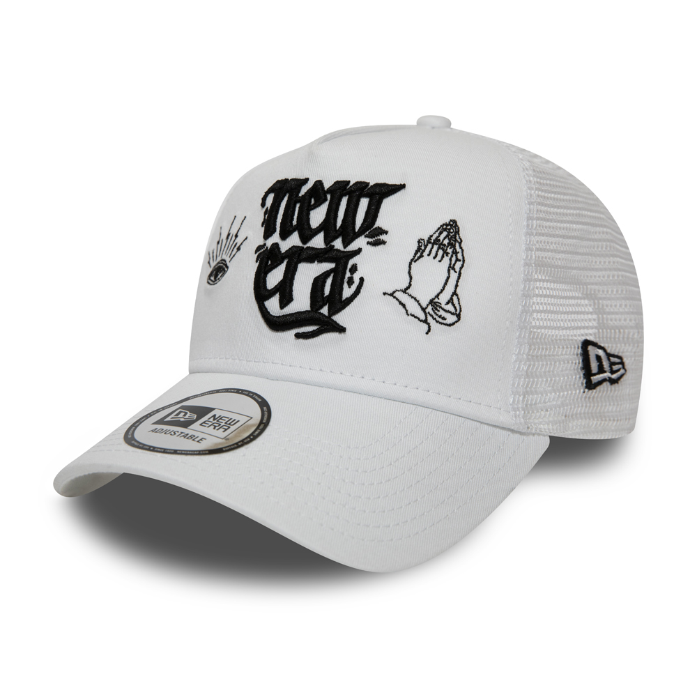 New Era Script A Frame Trucker bianco
