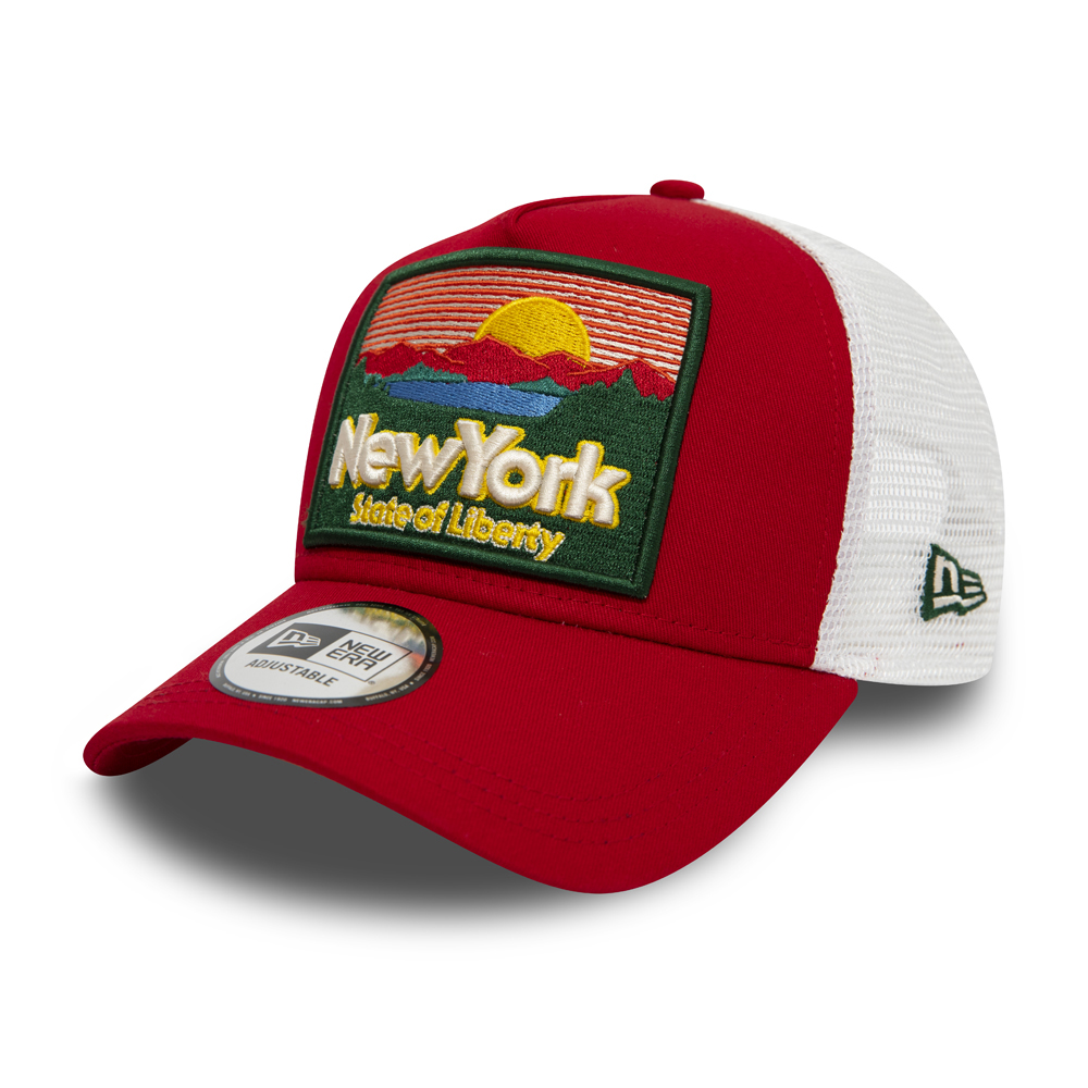 4779d4bea0550 New Era State Patch Scarlet A Frame Trucker