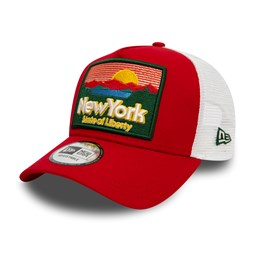 New Era State Patch Scarlet A Frame Trucker