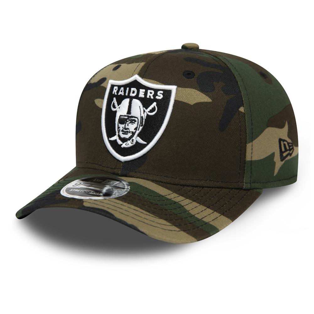 Casquette 9FIFTY camouflage noir Oakland Raiders à languette de réglage crantée