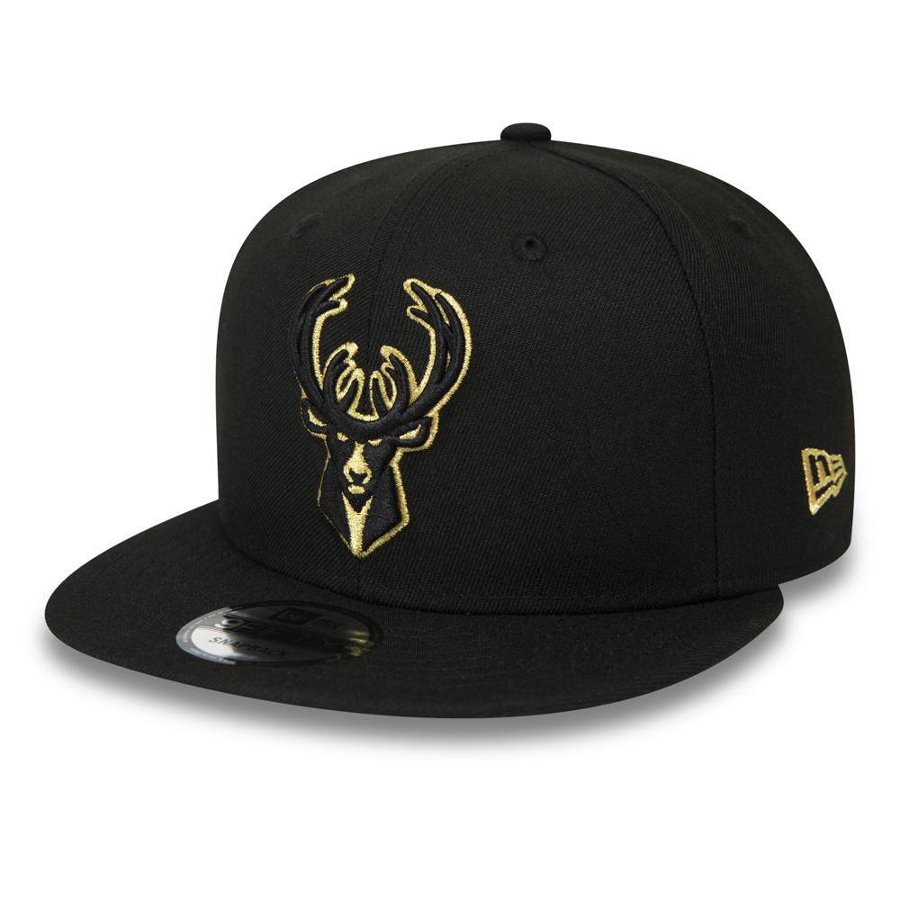 Casquette 9FIFTY noir et or Milwaukee Bucks à languette de réglage crantée