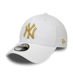 New York Yankees White Metallic Gold 9FORTY Snapback Cap