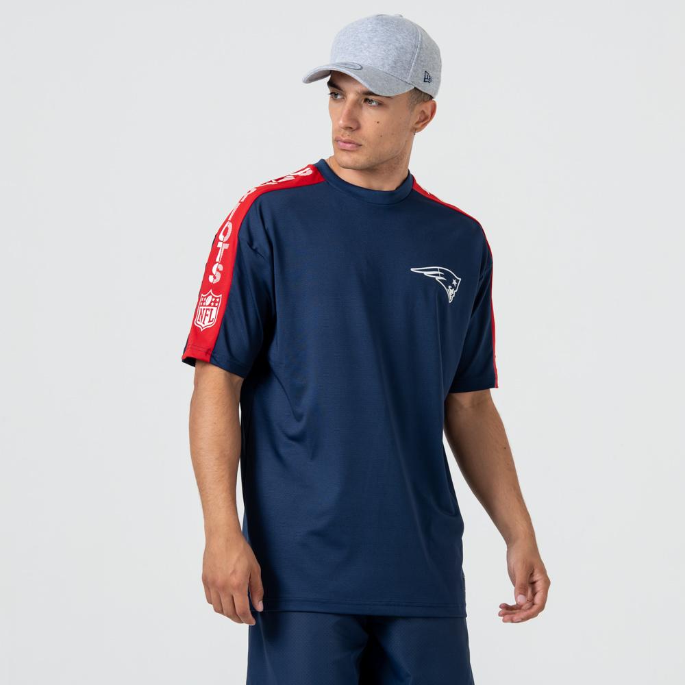 New England – Logo Shoulder Print – T-Shirt – Blau