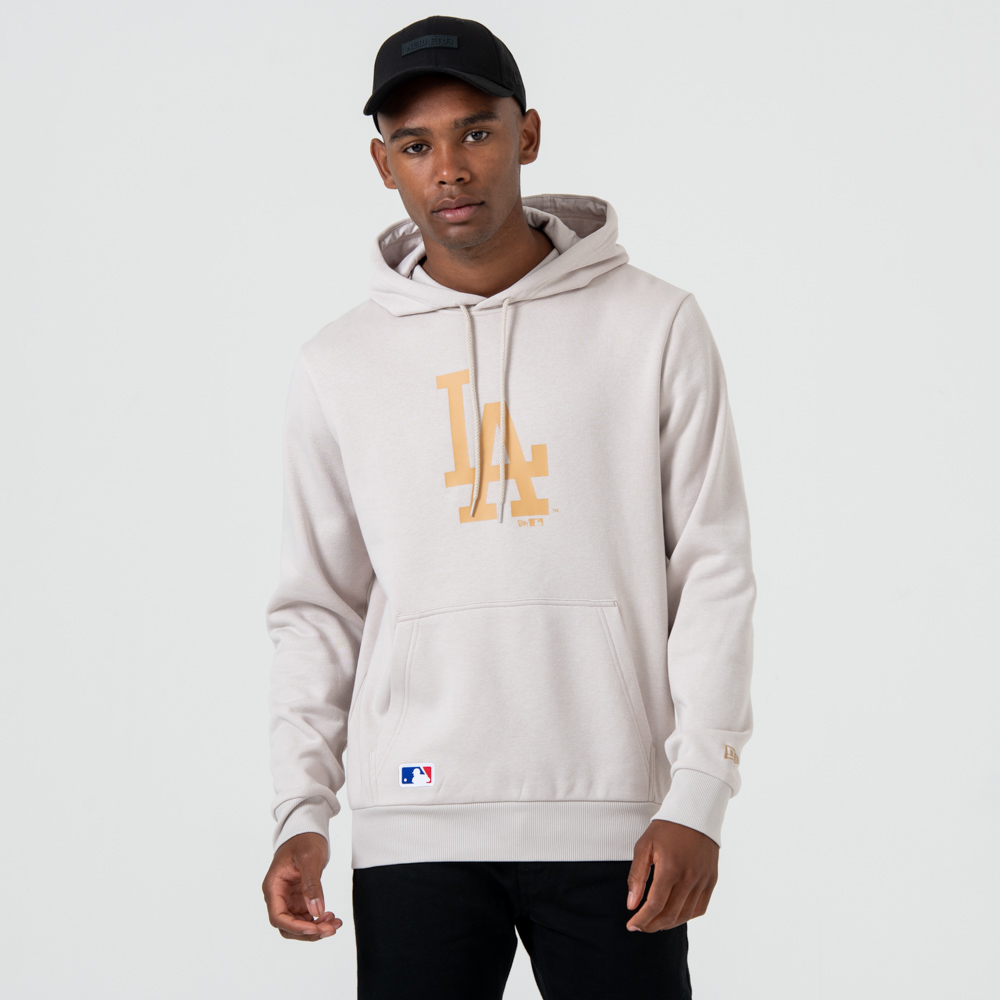 Sweat à capuche Los Angeles Dodgers grège à logo