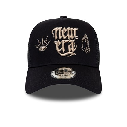 New Era Script Black A Frame Trucker