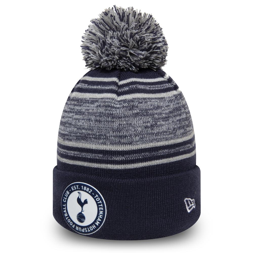 Bonnet Tottenham Hotspur FC bleu marine rayé avec pompon