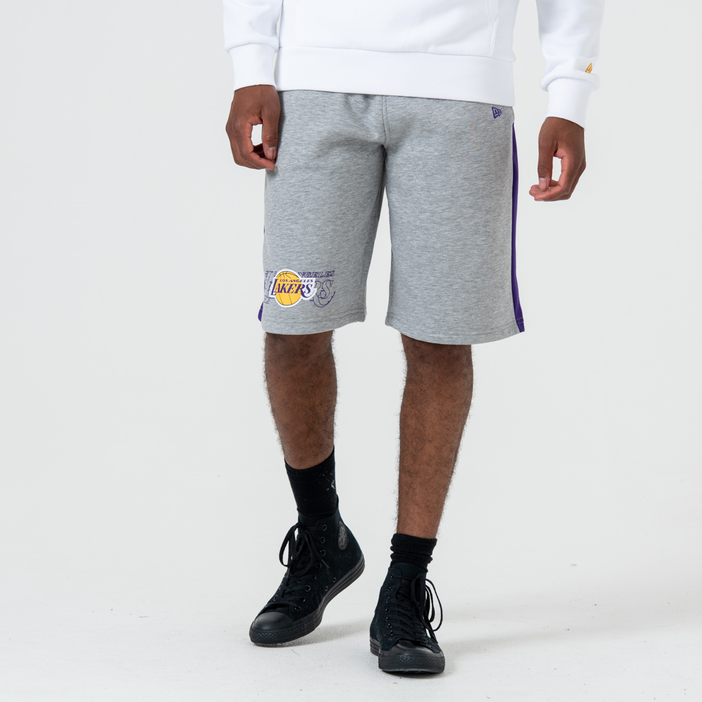 Short Los Angeles Lakers gris à logo