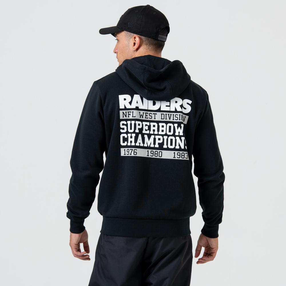 Sweat à capuche zippé noir des Oakland Raiders avec logo