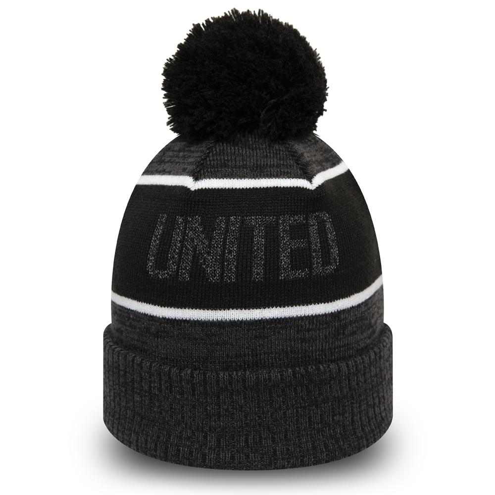 Bonnet à revers et pompon Manchester United gris réfléchissant