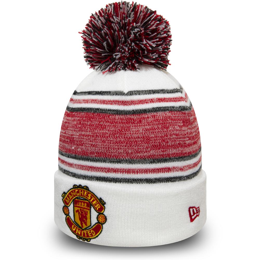 Manchester United – Cuff – Beanie mit Bommeln – Weiß