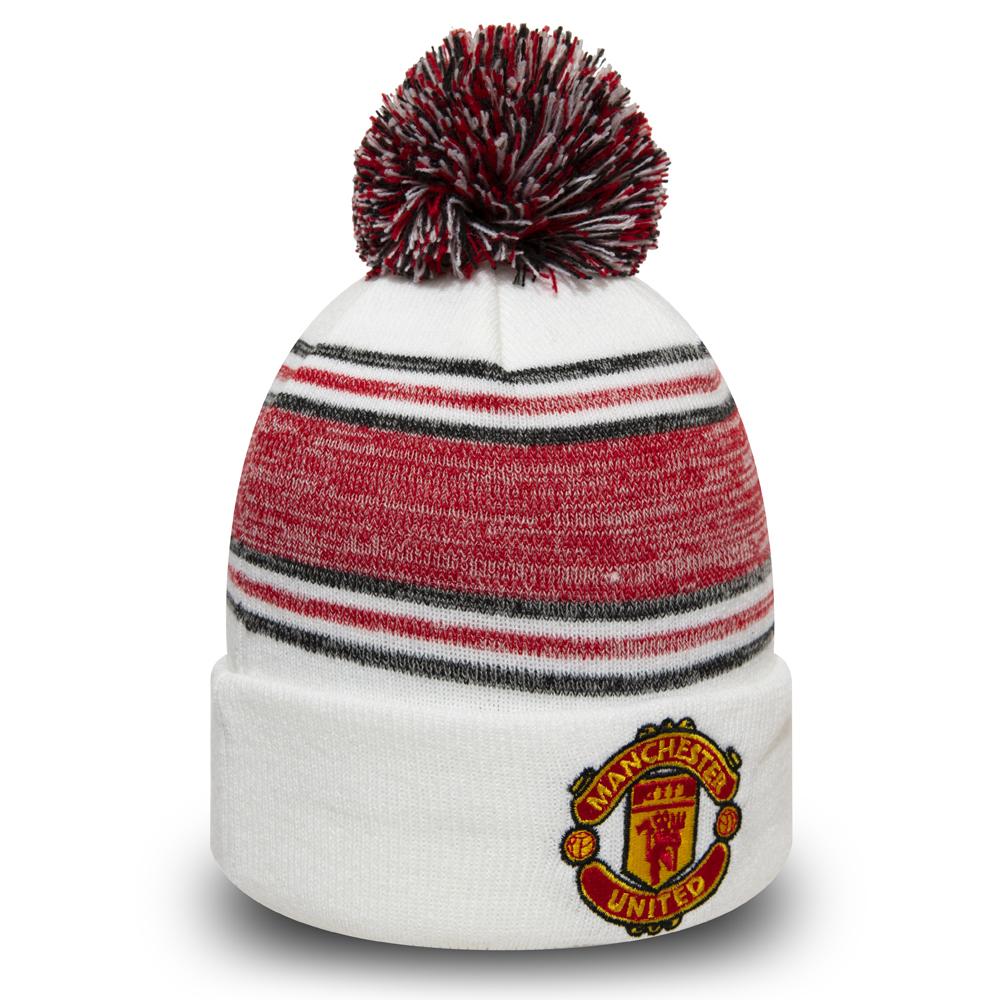 Bonnet à revers et pompon Manchester United blanc