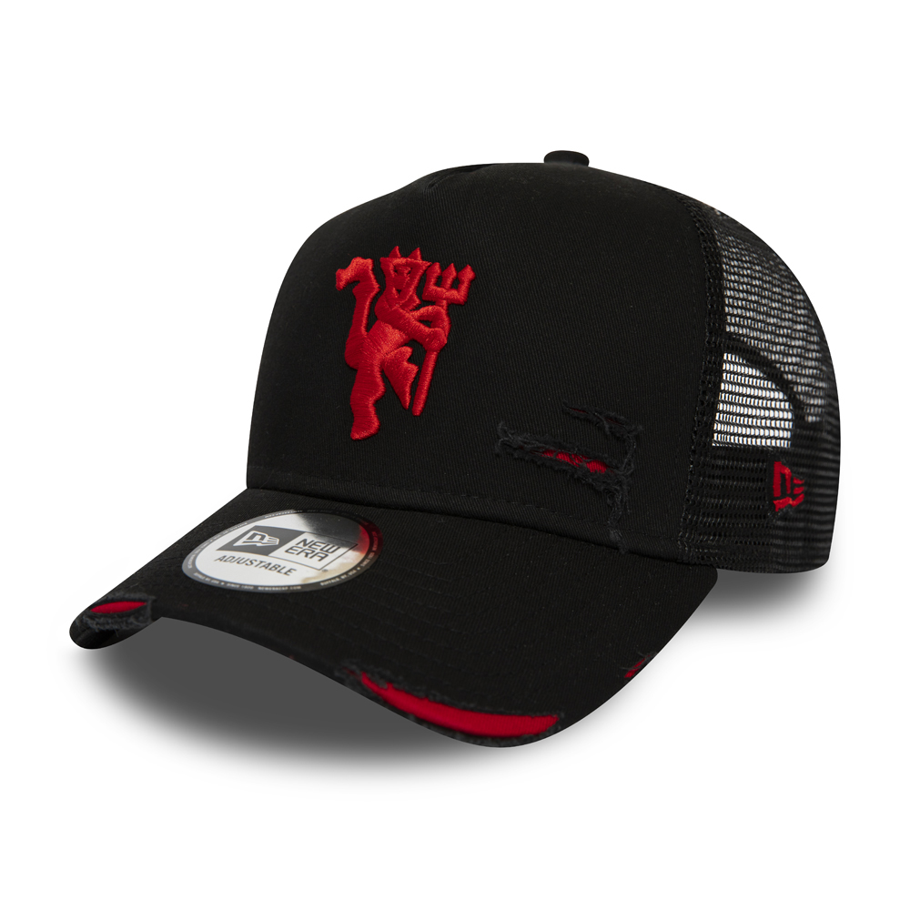 Gorra trucker Manchester United Distressed A Frame, negro