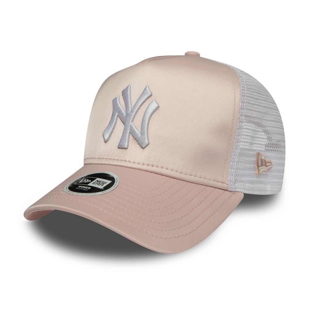 New York Yankees Satin A Frame Trucker rose femme