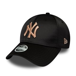 New York Yankees Satin 9FORTY mujer, negro